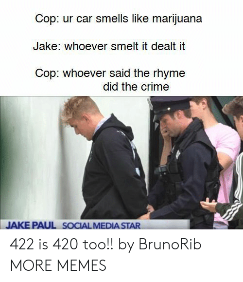 dealt: Cop: ur car smells like marijuana  Jake: whoever smelt it dealt it  Cop: whoever said the rhyme  did the crime  JAKE PAUL SOCIAL MEDIA STAR 422 is 420 too!! by BrunoRib MORE MEMES