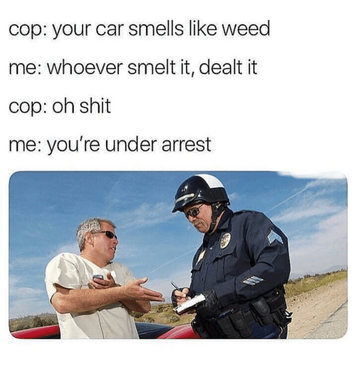 Shit, Weed, and Car: cop: your car smells like weed  me: whoever smelt it, dealt it  cop: oh shit  me: you're under arrest