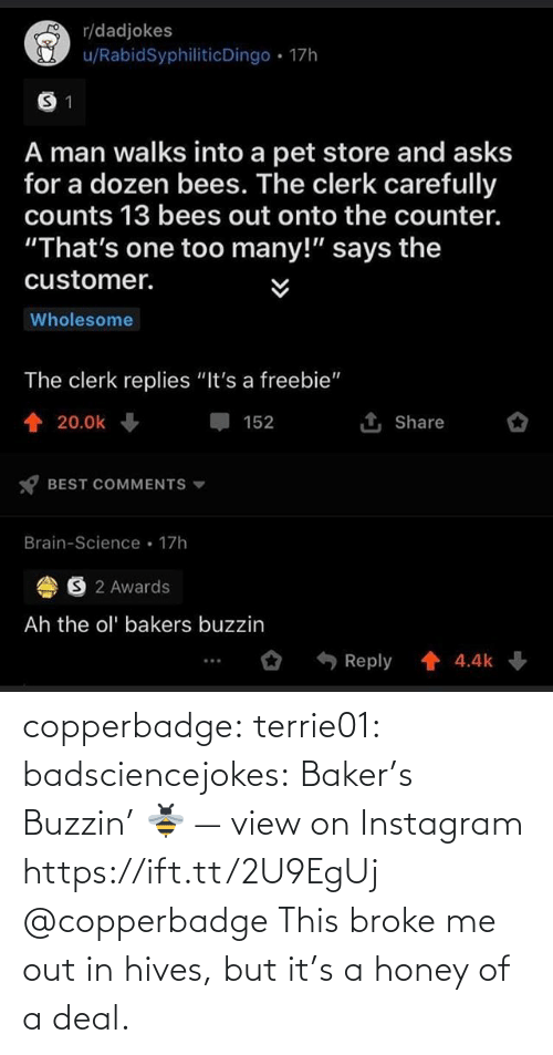 deal: copperbadge: terrie01:  badsciencejokes: Baker's Buzzin' 🐝 — view on Instagram https://ift.tt/2U9EgUj @copperbadge  This broke me out in hives, but it's a honey of a deal.