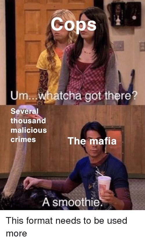 Malicious: Cops  Um.. whatcha got there?  Several  thousand  malicious  crimes  The mafia  A smoothie. This format needs to be used more