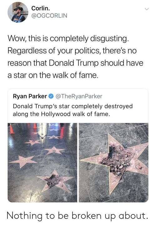 Donald Trump, Politics, and Wow: Corlin.  @OGCORLIN  Wow, this is completely disgusting  Regardless of your politics, there's no  reason that Donald Trump should have  a star on the walk of fame  Ryan Parker @TheRyanParker  Donald Trump's star completely destroyed  along the Hollywood walk of fame Nothing to be broken up about.