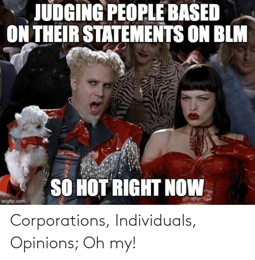 opinions: Corporations, Individuals, Opinions; Oh my!