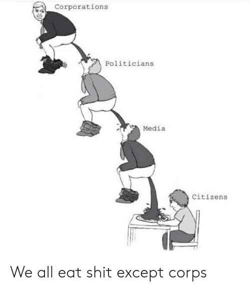 Shit, Politicians, and Im 14 & This Is Deep: Corporations  Politicians  Media  Citizens We all eat shit except corps