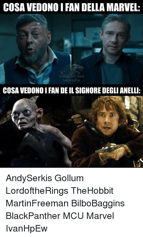 Memes, Marvel, and 🤖: COSA VEDONO IFAN DELLA MARVEL:  In stagram.com  vanHpEw  COSA VEDONO I FAN DE IL SIGNORE DEGLI ANELLI: AndySerkis Gollum LordoftheRings TheHobbit MartinFreeman BilboBaggins BlackPanther MCU Marvel IvanHpEw