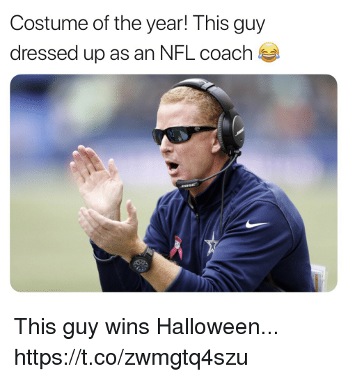 Football, Halloween, and Nfl: Costume of the year! This guy  dressed up as an NFL coach This guy wins Halloween... https://t.co/zwmgtq4szu