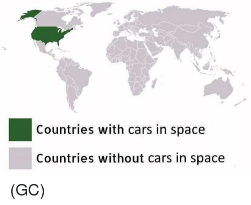 Cars, Memes, and Space: Countries with cars in space  Countries without cars in space (GC)