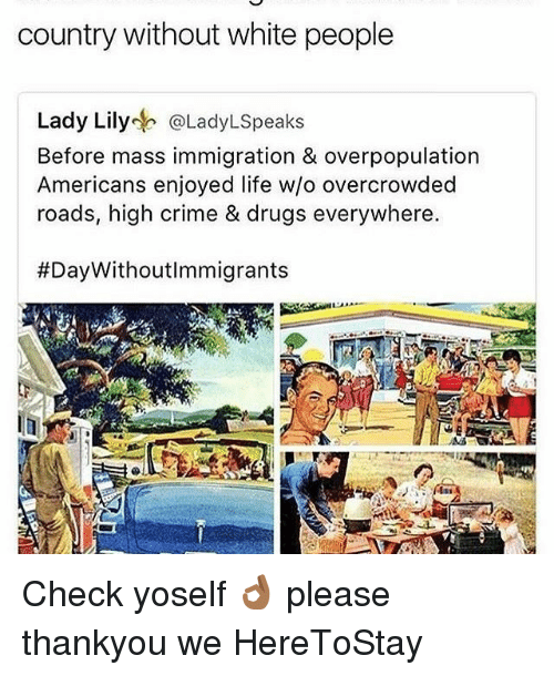 Memes, 🤖, and Mass: country without white people  Lady Lily  @LadyLspeaks  Before mass immigration & overpopulation  Americans enjoyed w/o overcrowded  roads, high crime & drugs everywhere.  Check yoself 👌🏾 please thankyou we HereToStay