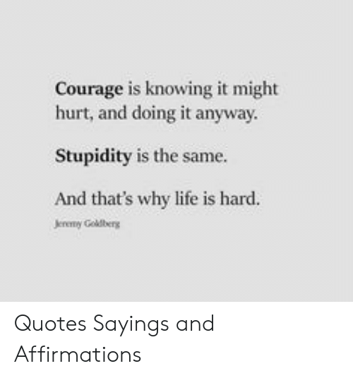 Stupidity: Courage is knowing it might  hurt, and doing it anyway  Stupidity is the same.  And that's why life is hard.  Jereny Goldberg Quotes Sayings and Affirmations