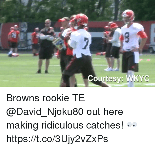 Memes, Browns, and 🤖: Courtesy: WKYC Browns rookie TE @David_Njoku80 out here making ridiculous catches! 👀 https://t.co/3Ujy2vZxPs