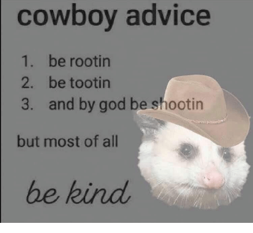 Advice, God, and Cowboy: cowboy advice  1. be rootin  2. be tootin  and by god be shootin  3.  but most of all  be kind