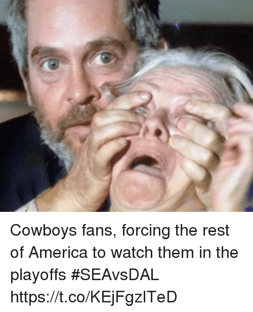 America, Dallas Cowboys, and Sports: Cowboys fans, forcing the rest of America to watch them in the playoffs #SEAvsDAL https://t.co/KEjFgzITeD