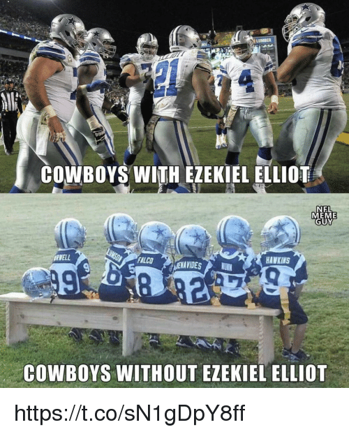 Dallas Cowboys, Meme, and Falco: COWBOYS WITH EZEKIEL ELLIDE  NEL  MEME  GUY  İAVELL  FALCO  HAWKINS  COWBOYS WITHOUT EZEKIEL ELLIOT https://t.co/sN1gDpY8ff