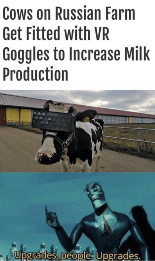 Fitted: Cows on Russian Farm  Get Fitted with VR  Goggles to Increase Milk  Production  Upgrades, people: Upgrades.  Te