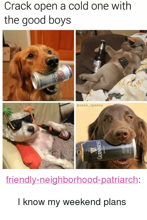 "Weekend Plans: Crack open a cold one with  the good boys  asean_speezy <p><a href=""http://friendly-neighborhood-patriarch.tumblr.com/post/163424659532/i-know-my-weekend-plans"" class=""tumblr_blog"">friendly-neighborhood-patriarch</a>:</p>  <blockquote><p>I know my weekend plans</p></blockquote>"