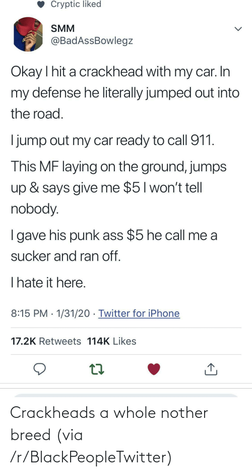 Nother: Crackheads a whole nother breed (via /r/BlackPeopleTwitter)
