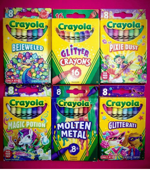 Metal, Crayola, and Pixie: Crayola Crayola. Crayola  BEJEWELED  PIXIE DUSI  CRAYON  16  YOUR  PACK  ONLY ATO8 NONT  8  Crayola Crayola Crayola  GLITTERATİ  METAL  8  PICK  YOUR  PACK  ONLY ATO  8 NONTOXIC CRAYONS  Crayons