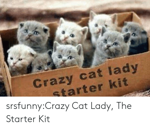 Crazy, Tumblr, and Blog: Crazy cat lady  starter kit srsfunny:Crazy Cat Lady, The Starter Kit