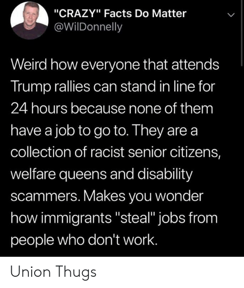 "Crazy, Facts, and Weird: ""CRAZY"" Facts Do Matter  @WilDonnelly  Weird how everyone that attends  Trump rallies can stand in line for  24 hours because none of them  have a job to go to. They are a  collection of racist senior citizens,  welfare queens and disability  scammers. Makes you wonder  how immigrants ""steal"" jobs from  people who don't work. Union Thugs"