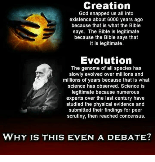 genome: Creation  God snapped us all into  existence about 6000 years ago  because that is what the Bible  says. The Bible is legitimate  because the Bible says that  it is legitimate.  Evolution  The genome of all species has  slowly evolved over millions and  millions of years because that is what  science has observed. Science is  legitimate because numerous  experts over the last century have  studied the physical evidence and  submitted their findings for peer  scrutiny, then reached concensus.  WHY IS THIS EVEN A DEBATE?