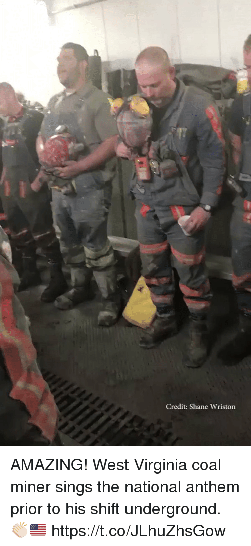 Memes, National Anthem, and Virginia: Credit: Shane Wriston AMAZING! West Virginia coal miner sings the national anthem prior to his shift underground. 👏🏻🇺🇸 https://t.co/JLhuZhsGow