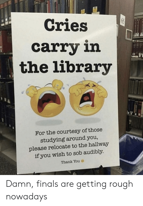 courtesy: Cries  carry in  the library  For the courtesy of those  studying around you,  please relocate to the hallway  if you wish to sob audibly  Thank You Damn, finals are getting rough nowadays