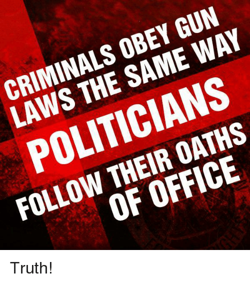 Memes, Office, and Politicians: CRIMINALS OBEY GUN  LAWS THE SAME WAY  POLITICIANS  FOLLOW THEIR OATHS  OF OFFICE Truth!