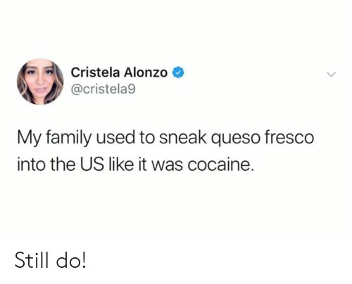 Family, Memes, and Queso: Cristela Alonzo  @cristela9  My family used to sneak queso fresco  into the US like it was cocaine. Still do!