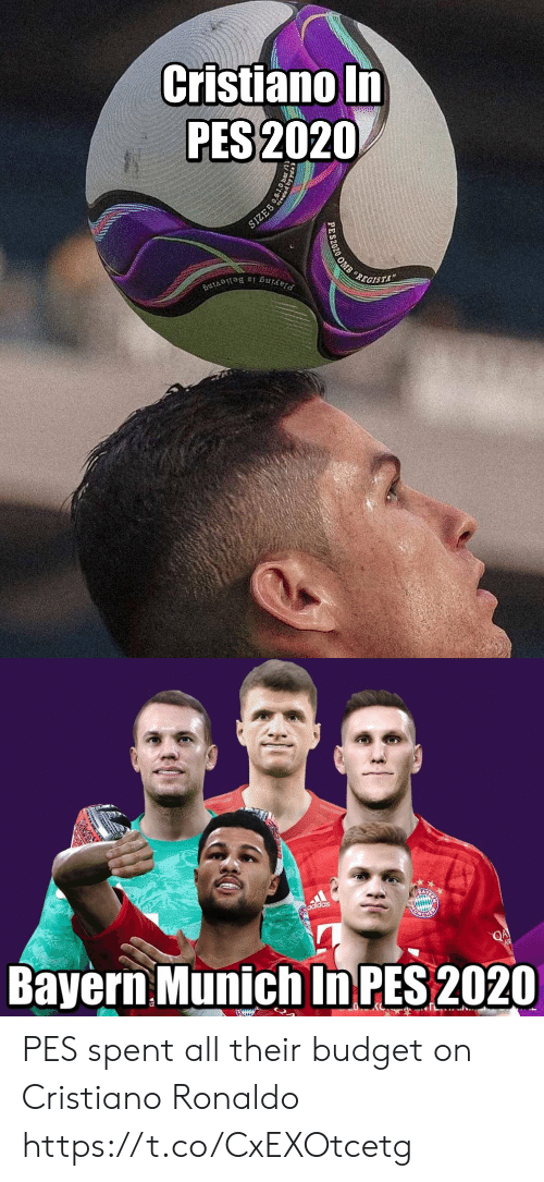 Cristiano Ronaldo: Cristiano In  PES 2020  SIZE5  REGISTA  Playing is Believing  PES2020 OMB   adidas  Bayern Munich In PES 2020  QA  EWIUN PES spent all their budget on Cristiano Ronaldo https://t.co/CxEXOtcetg