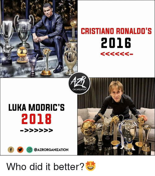 Fifa, Memes, and 🤖: CRISTIANO RONALDO'S  2016  ORGANIZATION  LUKA MODRIC'S  2018  FIFA  @j @AZRORGANIZATION Who did it better?🤩
