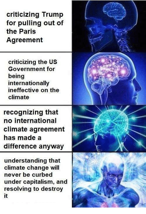 Capitalism, Paris, and Trump: criticizing Trump  for pulling out of  the Paris  Agreement  criticizing the US  Government for  being  internationally  ineffective on the  climate  recognizing that  no international  climate agreement  has made a  difference anyway  understanding that  climate change will  never be curbed  under capitalism, and  resolving to destroy  it