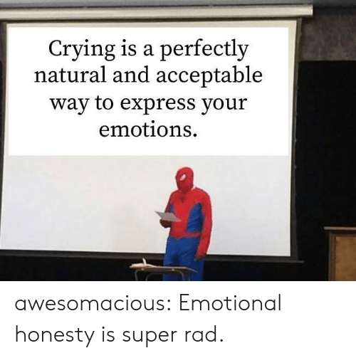 Crying, Tumblr, and Blog: Crying is a perfectly  natural and acceptable  way to express your  emotions awesomacious:  Emotional honesty is super rad.