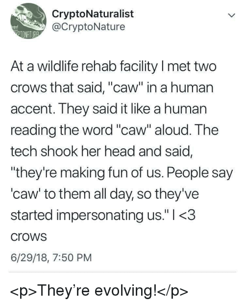 "Head, Word, and Her: CryptoNaturalist  @CryptoNature  At a wildlife rehab facility I met two  crows that said, ""caw"" in a human  accent. They said it like a human  reading the word ""caw"" aloud. The  tech shook her head and said,  ""they're making fun of us. People say  'caw' to them all day, so they've  started impersonating us."" l <.3  crows  6/29/18, 7:50 PM <p>They're evolving!</p>"