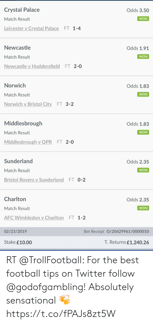 Football, Sensational, and Soccer: Crystal Palace  Odds 3.50  Match Result  WON  Leicester v Crystal Palace  FT 1-4  V  Newcastle  Odds 1.91  Match Result  WON  Newcastle v Huddersfield FT 2-0  Norwich  Odds 1.83  Match Result  WON  Norwich v Bristol City FT 3-2  Middlesbrough  Odds 1.83  Match Result  WON  Middlesbrough v QPR  FT 2-0  Sunderland  Odds 2.35  Match Result  WON  Bristol Rovers v Sunderland  FT 0-2  Charlton  Odds 2.35  Match Result  WON  AFC Wimbledon v Charlton  FT 1-2  02/23/2019  Bet Receipt 0/20629961/00000 10  T.Returns £1,240.26  Stake £10.00 RT @TrollFootball: For the best football tips on Twitter follow @godofgambling! Absolutely sensational 🍻 https://t.co/fPAJs8zt5W