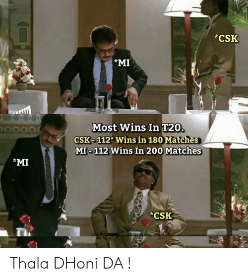 Memes, 🤖, and Dhoni: *CSK  *MI  Most Wins In T20.  CSK-112 Wins in 180 Matches  MI-112 Wins In 200 Matches  MI  CSK Thala DHoni DA !
