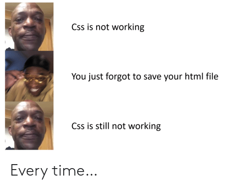 not working: Css is not working  You just forgot to save your html file  Css is still not working Every time…
