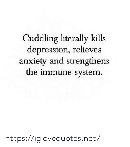 Anxiety, Depression, and Net: Cuddling literally kills  depression, relieves  anxiety and strengthens  the immune system. https://iglovequotes.net/