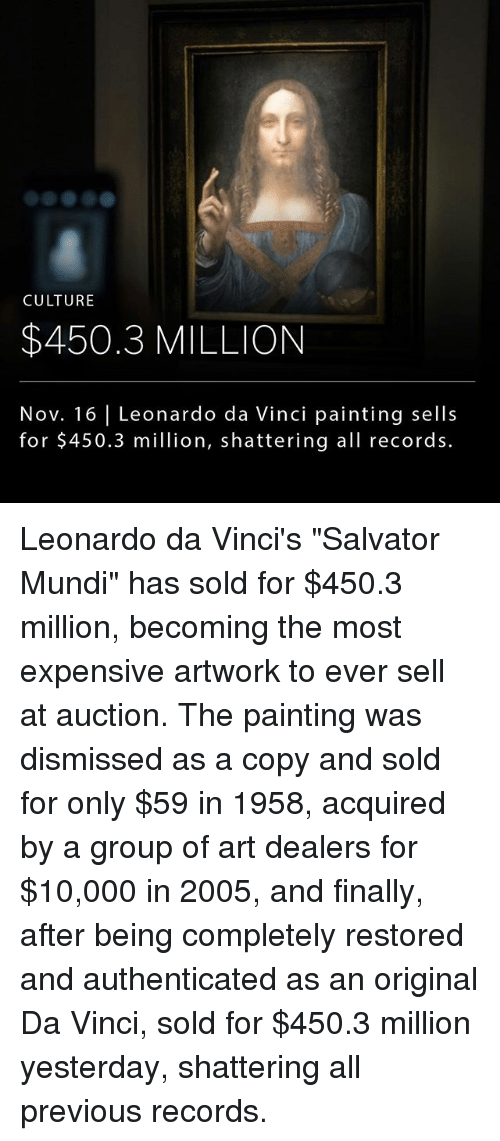 """Leonardo Da Vinci, Memes, and 🤖: CULTURE  $450.3 MILLION  Nov. 16 