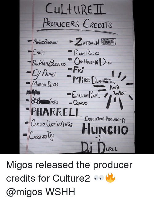 Memes, Migos, and Pharrell: CuLtuREIL  PRODUCERS CREDITS  CNOTE  RIcKY RAcKs  UREL  PeoD  PHARRELL EEculime  ExECuTIVE PRODuCER  Di De  UREL Migos released the producer credits for Culture2 👀🔥 @migos WSHH