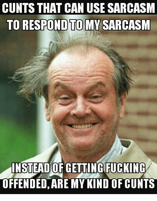 Memes, Sarcasm, and 🤖: CUNTS THAT CAN USE SARCASM  TO RESPOND TO MY SARCASM  INSTEAD OF GETTINGIFUCKING  OFFENDED, ARE MY KIND OF CUNTS