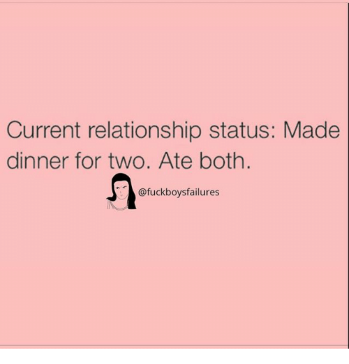 Girl Memes, Relationship Status, and Made: Current relationship status: Made  dinner for two. Ate both.  @fuckboysfailures