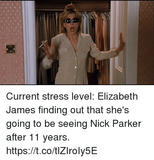 Nick, Girl Memes, and Stress: Current stress level: Elizabeth James finding out that she's going to be seeing Nick Parker after 11 years. https://t.co/tlZIroIy5E