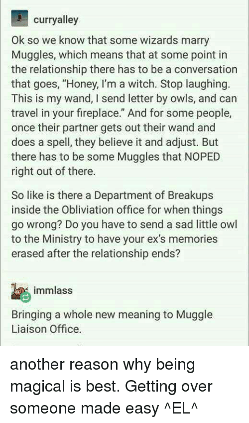 "Obliviates: curryalley  Ok, so we know that some wizards marry  Muggles, which means that at some point in  the relationship there has to be a conversation  that goes, ""Honey, I'm a witch. Stop laughing  This is my wand, I send letter by owls, and can  travel in your fireplace. And for some people,  once their partner gets out their wand and  does a spell, they believe it and adjust. But  there has to be some Muggles that NOPED  right out of there.  So like is there a Department of Breakups  inside the Obliviation office for when things  go wrong? Do you have to send a sad little owl  to the Ministry to have your ex's memories  erased after the relationship ends?  imamlass  Bringing a whole new meaning to Muggle  Liaison Office. another reason why being magical is best.  Getting over someone made easy  ^EL^"