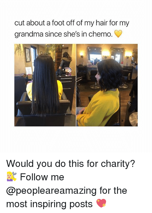 Grandma, Memes, and Hair: cut about a foot off of my hair for my  grandma since she's in chemo. Would you do this for charity? 💇🏼♀️ Follow me @peopleareamazing for the most inspiring posts 💖