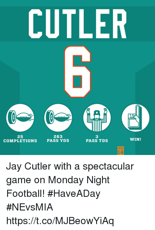 Football, Jay, and Memes: CUTLER  25  COMPLETIONS  263  PASS YDS  3  PASS TDS  WIN!  WK  14 Jay Cutler with a spectacular game on Monday Night Football! #HaveADay #NEvsMIA https://t.co/MJBeowYiAq
