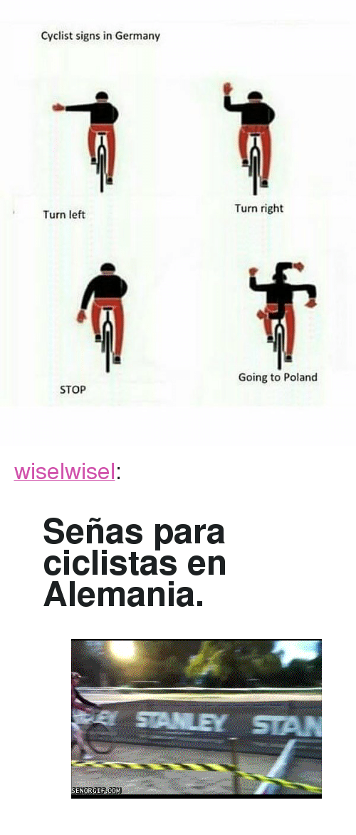 "Gif, Tumblr, and Blog: Cyclist signs in Germany  Turn right  Turn left  Going to Poland  STOP <p><a href=""https://wiselwisel.com/post/173420928295/se%C3%B1as-para-ciclistas-en-alemania"" class=""tumblr_blog"">wiselwisel</a>:</p><blockquote> <h2>Señas para ciclistas en Alemania.</h2> <figure class=""tmblr-full"" data-orig-height=""224"" data-orig-width=""352""><img src=""https://78.media.tumblr.com/67789925b43e3f7141bfbee2ae94bc2e/tumblr_p7xygxFRyE1s1ddrjo1_400.gif"" data-orig-height=""224"" data-orig-width=""352""/></figure></blockquote>"