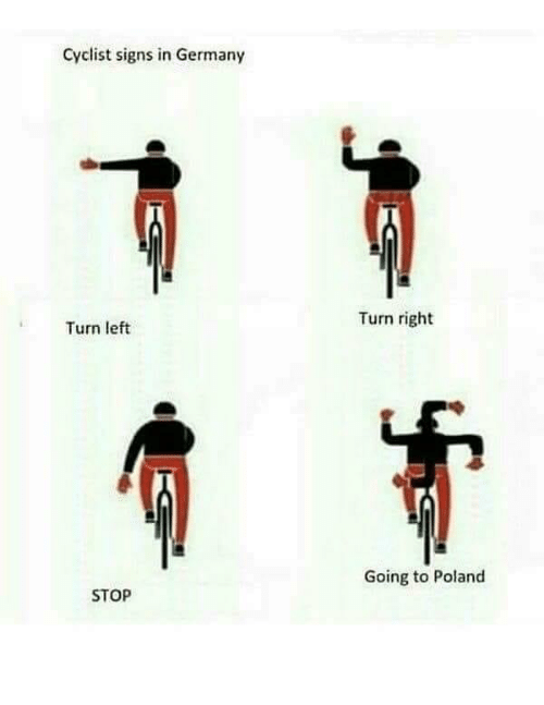 Germany, Poland, and Signs: Cyclist signs in Germany  Turn right  Turn left  Going to Poland  STOP