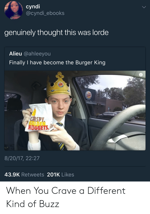 Burger King, Lorde, and Thought: cyndi  @cyndi_ebooks  genuinely thought this was lorde  Alieu @ahleeyou  Finally I have become the Burger King  NUGGETS  8/20/17, 22:27  43.9K Retweets 201K Likes When You Crave a Different Kind of Buzz