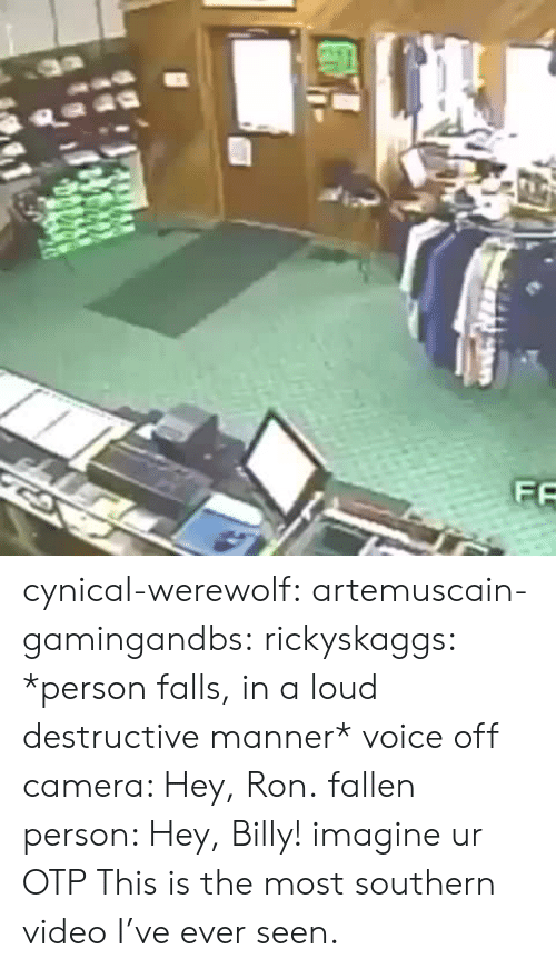 Target, Tumblr, and Blog: cynical-werewolf:  artemuscain-gamingandbs:  rickyskaggs:  *person falls, in a loud destructive manner* voice off camera: Hey, Ron. fallen person: Hey, Billy!  imagine ur OTP  This is the most southern video I've ever seen.