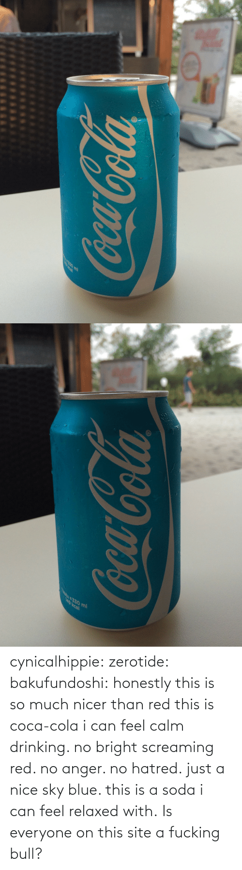 Blue: cynicalhippie:  zerotide:  bakufundoshi:  honestly this is so much nicer than red  this is coca-cola i can feel calm drinking. no bright screaming red. no anger. no hatred. just a nice sky blue. this is a soda i can feel relaxed with.   Is everyone on this site a fucking bull?