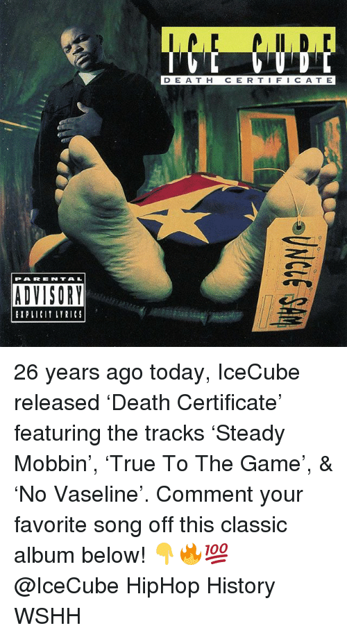Memes, Parental Advisory, and The Game: D E A T H C E R T IFIC ATE  乙-  PARENTAL  ADVISORY  EIPLICIT LYRICS 26 years ago today, IceCube released 'Death Certificate' featuring the tracks 'Steady Mobbin', 'True To The Game', & 'No Vaseline'. Comment your favorite song off this classic album below! 👇🔥💯 @IceCube HipHop History WSHH